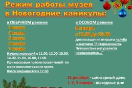 Режим работы музея в Новогодние каникулы
