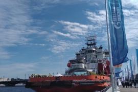 В Петербурге подняли российский флаг на ледоколе «Александр Санников»